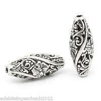 10 älter Silber Hohle Gravur Blumenreben Spacer Perlen Beads Oval 26mm x 11mm