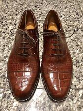 Barneys New York Elite Line Brown Alligator Men's Oxford Shoes