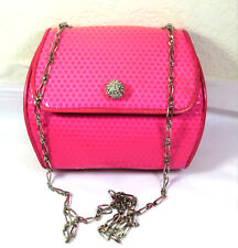 MOSCHINO Redwall Pink Diamante Metal Chain Strap Small Sling Bag Italy