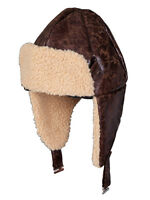 Adult Brown Biggles Aviator Flying Pilot Sheepskin Fancy Dress Helmet Hat Mens