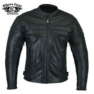 Australian Bikers Gear Strugis Motorcycle CE Armoure Cowhide Leather Jacket
