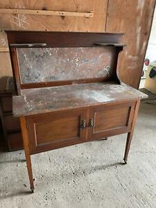 Edwardian Mahogany Sideboard Cupboard with Red Marble Counter / Splash-back