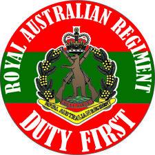 """DUTY FIRST"" ROYAL AUSTRALIAN REGIMENT LAMINATED VINYL STICKER 100MM DIA"