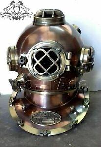 Diving Helmet US Navy Mark V Deep Sea Marine Divers Helmet Antique Scuba SEA A14