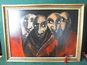 Nur Abholung! Großes Original Gemälde Öl / Acryl auf Platte 5 Geflohene, Benigni