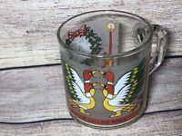 Vintage Luminarc Glass Twelve Days of Christmas Mug 4 Four Calling Birds