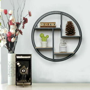 Retro Industrial Metal Wire Wall-Mounted Circular/Round Wooden Display Shelf
