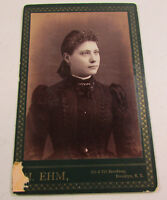 Vintage H. EHM Cabinet Card Black White Photograph Young Woman Formal Dress