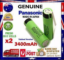 2x Panasonic NCR 18650 B 3400mAh TABBED Li-Ion Rechargeable Battery GENUINE