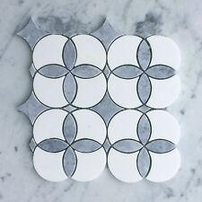 Thassos & Griggio Marble Anemone Flower Mosaic Tiles (Sheet)