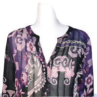 Chico's Top Size 1 Size Medium Long Sleeves Womens Sheer Blouse Purple