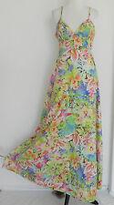 Enfim Summer Dress Empire Waist Maxi A-Line Spaghetti Strap Multi-Color Size S/M