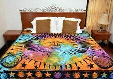 Multi Sun Moon Tapestry Mandala Wall Hanging Hippie Cotton Bedspreads Twin Size