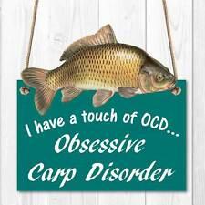 OCD OBSESSIVE CARP DISORDER SIGN Funny Fish Sign Wood Effect Fishing Carp Sign