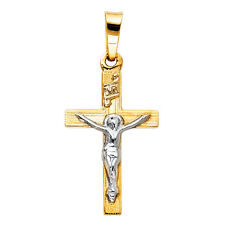 14k Yellow Gold Small/Mini Religious Crucifix Tiny Charm Pendant  (18mm x 12mm)