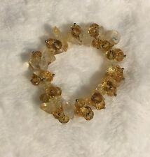 Genuine CITRINE Stone And Beads Crystal Reiki Healing , Stretchy Bracelet.