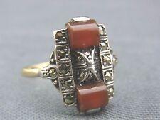 schöner alter Ring ca.um 1910 Art Deko Silber Gold Karneol Markasiten