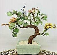"Vintage 9.5"" Jade Glass Bonsai Tree Japanese Oriental Flower Blossom Ceramic Pot"