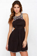 Billabong Sol Shining Washed Black Dress Embroidered Dress Size Large BL7