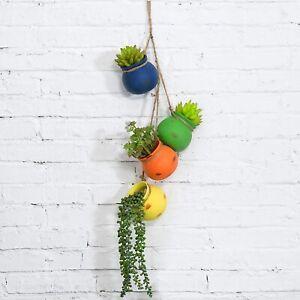 Mixed Bright Rainbow-Color Hanging Ceramic 4 Pot Planter Set w/ Drain Hole