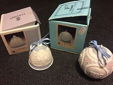 Lladro 1990 Handmade Porcelain Christmas Bell and Ball Ornaments- Lot of 2