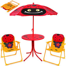Kids Garden Table Chairs Set Outdoor Patio Children Parasol Umbrella Sun Shade