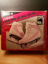 Dbx Girls Ice Skates Double Blade Size 10J White Pink ~New~