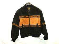 Scully S NWT Black Brown Suede Leather Jacket Full Zip Western Stripe Mens NEW