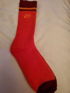 Nike socks large crew burnt orange and maroon