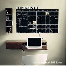 Black Chalk Board Blackboard Monthly Calendar Vinyl Wall Sticker Home Decor - LD