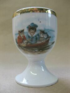 Vintage / Antique Continental Porcelain Egg Cup ~ Cats & Kittens in Rowing Boat