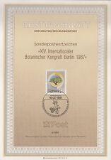 TIMBRE FDC ALLEMAGNE  BERLIN OBL ERSTTAGSBLATT CONGRES BOTANISTE  1987