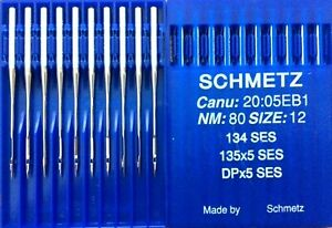 SCHMETZ DPX5SES 135X5SES 134SES NM:80 SIZE:12 INDUSTRIAL SEWING MACHINE NEEDLE
