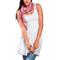 Spitze Longshirt Shirtkleid Kleid KLEID Tunika WEIß Gr.36/38 S/M