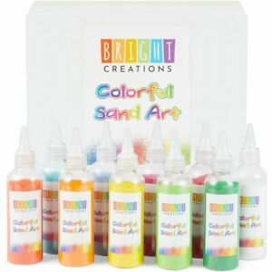 Colored Sand Bottles for Arts and Crafts, Bright Colors (0.33 lb, 10 Pack)