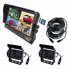 "9"" QUAD MONITOR BUILT-IN DVR CAR REAR VIEW CAMERA KIT FOR TRUCK TRAILER RV"