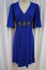 ECI New York Dress Sz 4 Cobalt Blue Embellished Waist Business Cocktail Dress