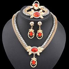 Women Pendant 2 Layer Chain Necklace Bracelet Earrings Rings Jewelly Set Cheap