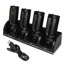 4 Dock Charger Station 4x Battery Black/White for Nintendo WII Remote Controller