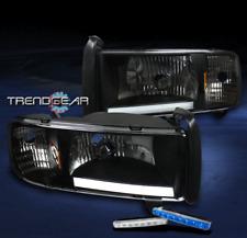 1994-2001 DODGE RAM LED BAR BLACK CRYSTAL HEAD LIGHT LAMP+BLUE DRL CORNER SIGNAL