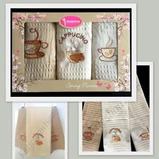 SET OF 3 100% COTTON TEA TOWELS DISH CLOTH 3 DIFFERENT COLOURS IN A GIFT BOX