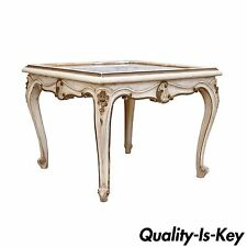 Antique French Louis XV Style Painted Marble Top Occasional Coffee Side Table