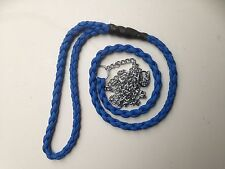 Blue All In One Dog Show Lead + Fine Slip  Choke Chain Braided Paracord