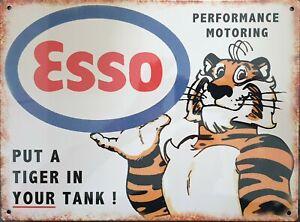 Esso Petrol Tiger Motor Oil Tin Sign 35cmx26cm | Man Cave, Shed or Garage