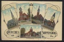 Postcard Shippensburg Pa/Pennsylvania 5 Five Area Local Churches 1907