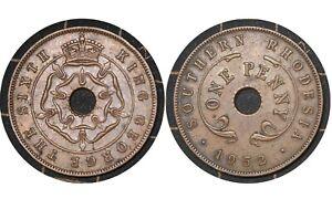 1 Penny 1952 Southern Rhodesia  (Zimbabwe) Coin / King George VI # 25