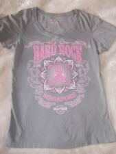 Hard Rock TOP women M Pinktober Breast cancer Shirt Singapore collector top GRAY