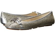 MICHAEL KORS FULTON SILVER GLITTER LEATHER INSOLE MK LOGO MOCCASINS I LOVE SHOES
