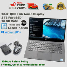 DELL XPS 13.3 Inch QHD+ 4K Touch Screen 1TB SSD i7 1.8GHz-4.6GHz 16GB RAM Laptop