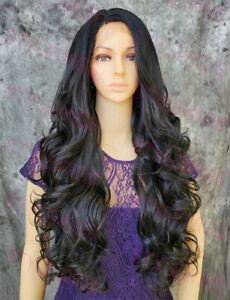 Off Black Long Loose Wavy Curls Heat OK Lace Front Human Hair Blend Wig STEO 1B